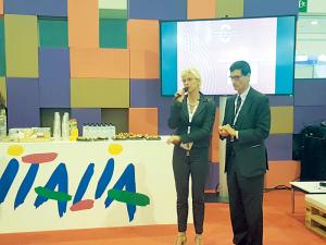 Maria Elena Rossi, Dirretore Marketing e Promozione ENIT Onorio Rebecchini, Presidente Convention Bureau Roma & Lazio (Fiera IBTM Barcellona)